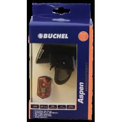 "Set Fanale batteria Büchel, ""ASPEN"", Led, 30/15 lux, 1000 mAh, microUSB, + MicroLight"