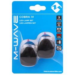 """Set Fanali batteria M-Wave, segnalatore """"Cobra IV"""", 3F., ant+post 2led, nero"""