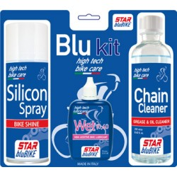 "Kit catena Star BluBike ""BLU KIT"" (Sgrassante Cleaner, Lubrificante Wet, Lubrificante Spray Silicon)"