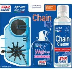 "Kit catena Star BluBike ""CHAIN KIT"" (Sgrassante Cleaner, Lubrificante Wet, Pulisci catena)"
