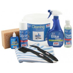 Kit pulizia Star BluBike, CLEANING  (Cleaner + Bike Cleaner + Silicon + Slick +  spazzola + spugna + contenitore )
